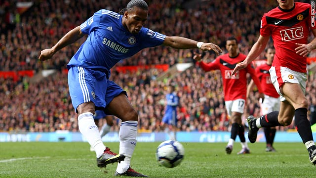 Didier Drogba fires Chelsea's second goal in the 2-1 victory away to Manchester United.