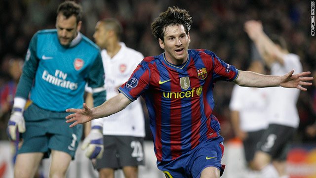 Lionel Messi scored all four goals in a stunning performance as Barcelona thrashed Arsenal 4-1 at the Nou Camp.