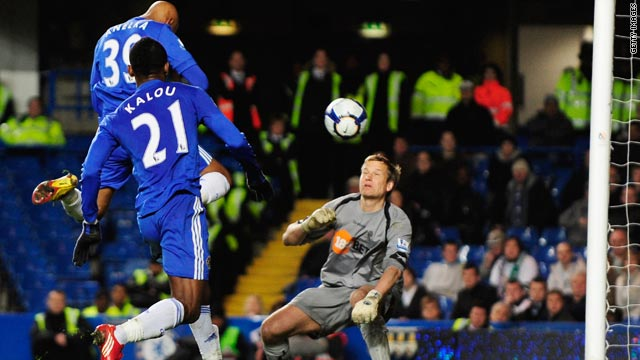 France striker Nicolas Anelka rises highest to score his first goal for Chelsea in 14 games with the winner against Bolton.