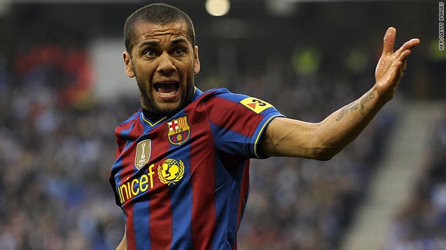 Barcelona defender Daniel Alves will miss next weekend's match against Xerez following his sending-off at Espanyol.