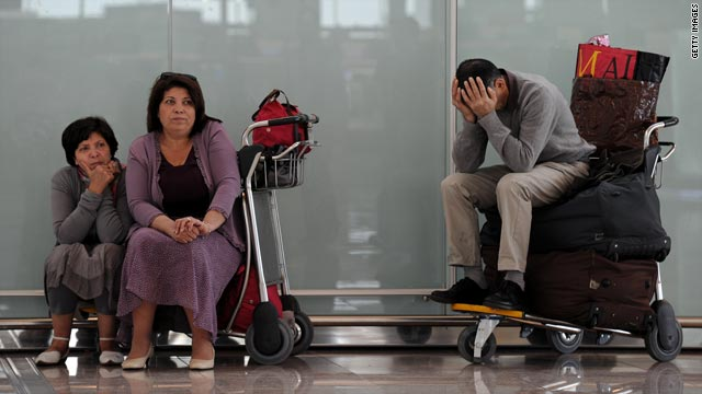Passengers wait at Barcelona's El Prat international airport, which was still closed on April 18.