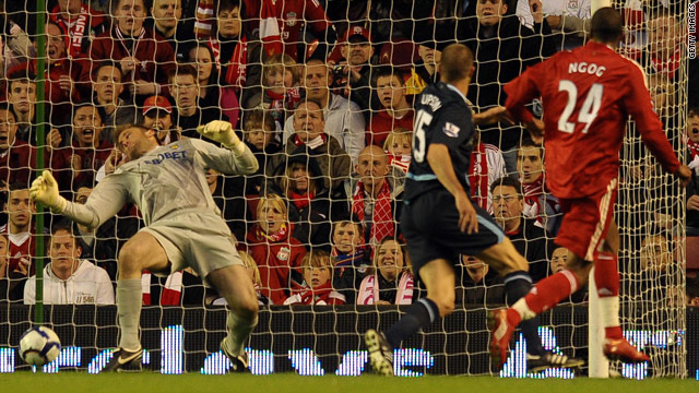 French striker David Ngog scores Liverpool's second goal in their 3-0 win over West Ham at Anfield.