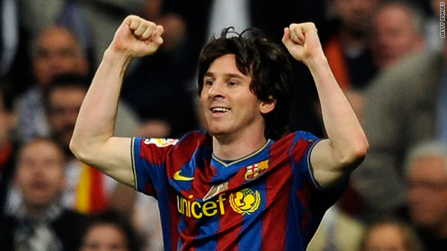 Barcelona's Lionel Messi celebrates scoring the opening goal against Real Madrid earlier this month,