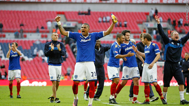 Portsmouth players celebrates their shock FA Cup semifinal win over Tottenham.