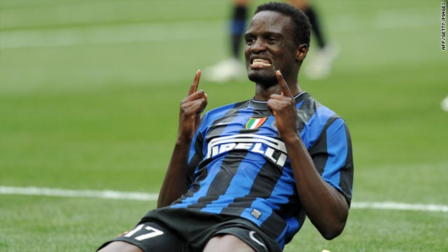 McDonald Mariga celebrates his first goal for Inter since joining the Italian champions from Parma on February 1.