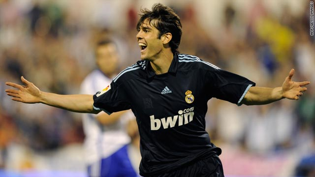 e7a0e8bd4 Kaka celebrates after scoring Real Madrid s late winner against struggling  Zaragoza on Saturday night.