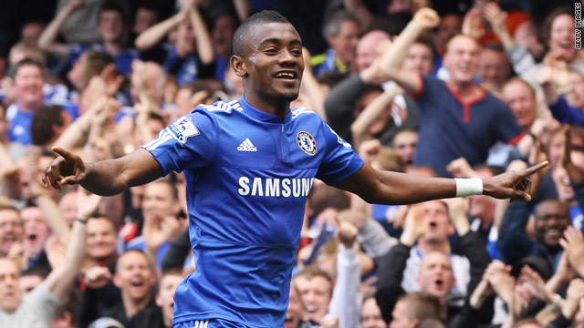Kalou celebrates as he scores his first-ever hat-trick for Chelsea in the 7-0 rout of Stoke.