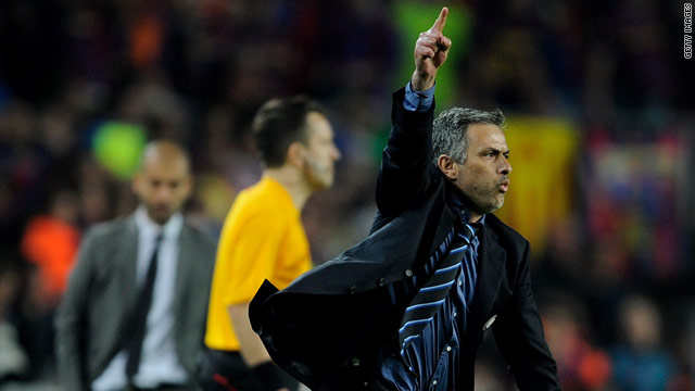 Jose Mourinho celebrates taking Inter Milan to the final of Europe's Champions League.