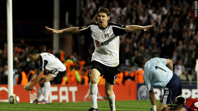 Zoltan Gera celebrates his winning goal as Fulham fought back from going a goal behind to reach the Europa League final.