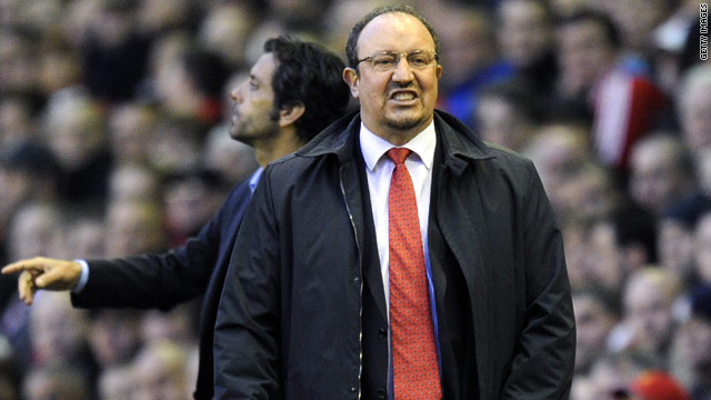 Rafael Benitez tries to get his point across during Liverpool's Europa League semifinal defeat to Atletico Madrid.