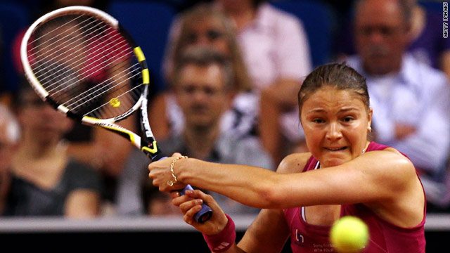 World number three Dinara Safina on her way to a straight sets defeat at the hands of Shahar Peer in Stuttgart.