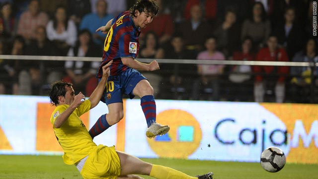 Lionel Messi fires his 41st goal of the season to put Barcelona 1-0 up against Villarreal on Saturday.