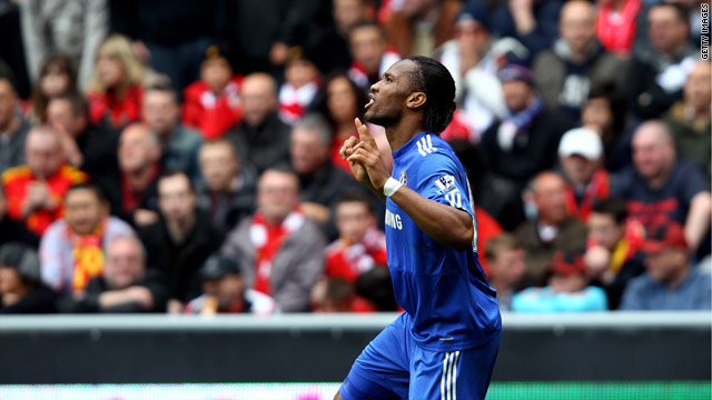 Didier Drogba's first half goal set Chelsea on their way to a vital win at Anfield.