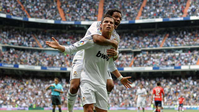 Ronaldo's double helped Real to a vital 3-2 home win over Osasuna.