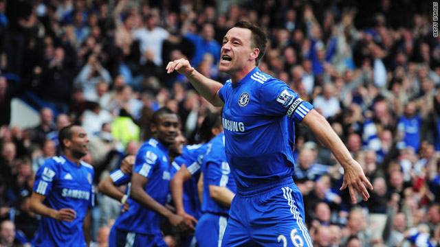 Chelsea captain John Terry can barely conceal his delight after another goal goes in at Stamford Bridge.