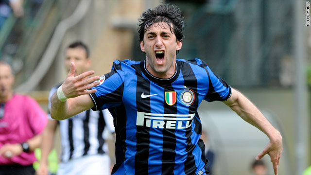 Diego Milito cannot hide his joy after scoring the goal that saw Inter Milan secure their fifth successive Serie A title.