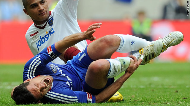 Michael Ballack sustained his ankle injury during this challenge from Kevin-Prince Boateng in the FA Cup final.