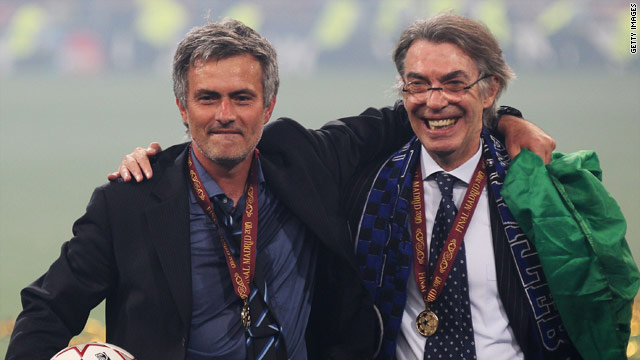 Mourinho and Moratti celebrate after Inter defeat Bayern Munich 2-0 to win the Champions League on May 22.
