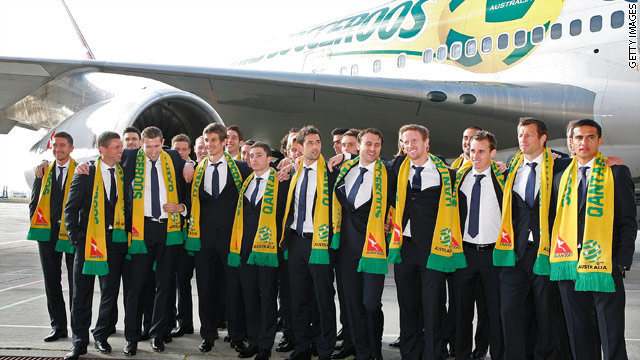 The Socceroos landed in South Africa on Wednesday ahead of their first World Cup group match on 13 June