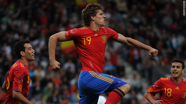 Substitute Llorente celebrates his winning goal in Innsbruck for Spain.