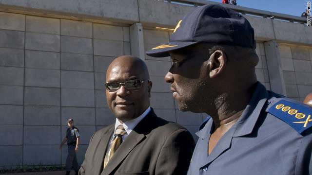 Police Minister Nathi Mthethwa (L) and National Commissioner General Bheki Cele outside Cape Town stadium.