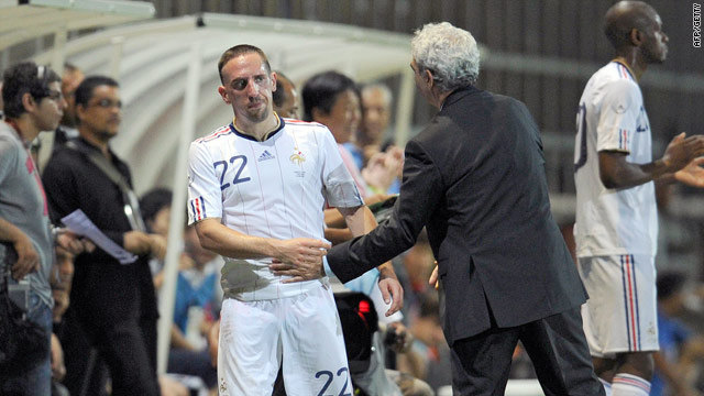 France star Franck Ribery is substituted by Raymond Domenech during their 1-0 defeat to China.