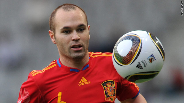 Andres Iniesta is a doubt for Spain's opening World Cup game with Switzerland due to a thigh injury.