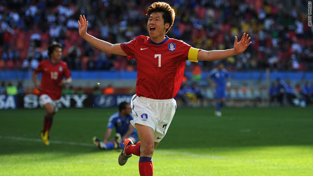 Park Ji-Sung celebrates scoring South Korea's second goal in their opening Group B game against Greece.