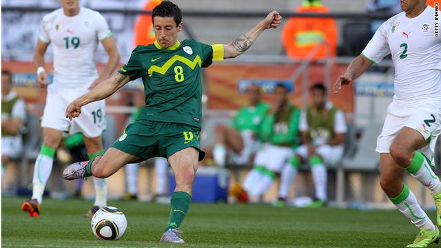 Slovenian captain Robert Koren scores the winner against Algeria.
