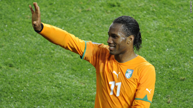 Drogba played against Portugal wearing a special protective cast on his fractured arm.