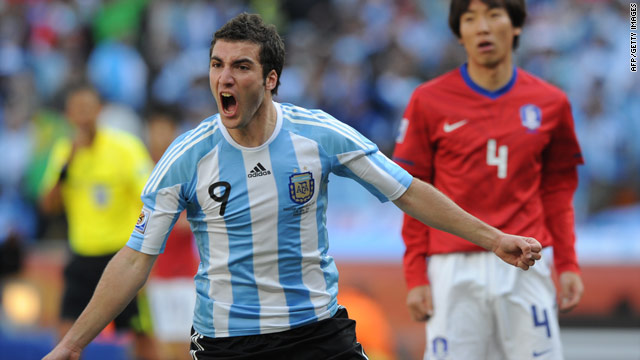 Gonzalo Higuain celebrates after scoring Argentina's second goal against South Korea in South Africa.