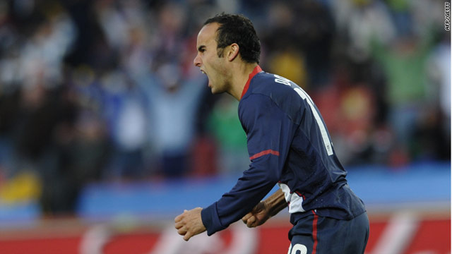 Landon Donovan celebrates his superb goal for the United States at Ellis Park.