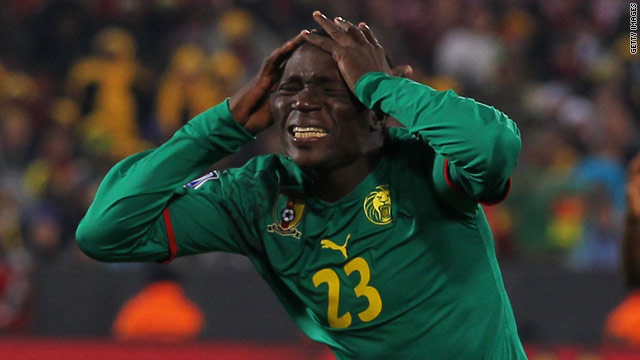 Cameroon substitute Vincent Aboubakar was left in anguish after missing a late chance against Denmark.