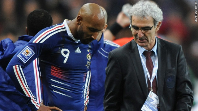 Nicolas Anelka, left, pictured with France coach Raymond Domenech during a World Cup qualifier in November 2009.