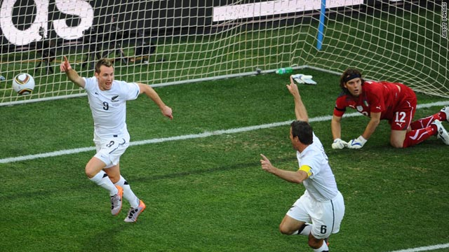 Shane Smeltz (left) stuns Italy as his seventh minute goal puts New Zealand ahead in their Group F match in Nelspruit.