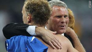 New Zealand footballer Simon Elliott and Ricki Herbert, head coach, after holding Italy to a draw.
