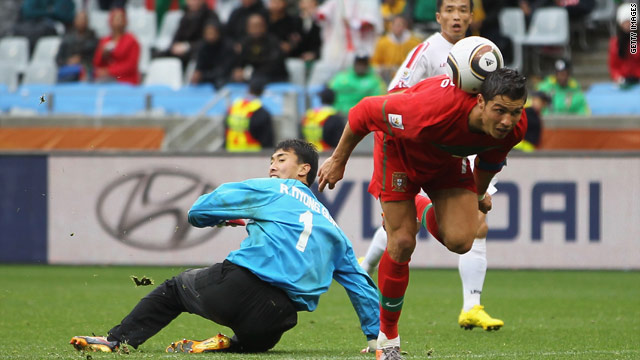 Cristiano Ronaldo juggled the ball on his back before scoring Portugal's sixth goal against North Korea.