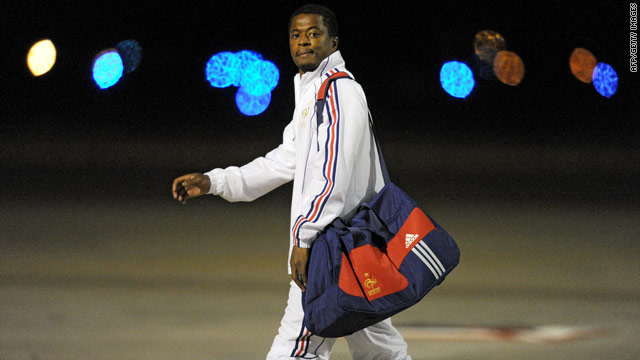 Patrice Evra arrives in Bloemfontein on Monday -- but the French captain was left out of the team on Tuesday.