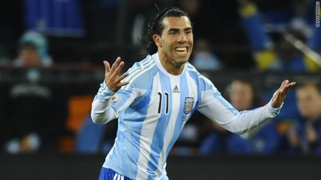 Carlos Tevez celebrates scoring his second goal for Argentina against Mexico.