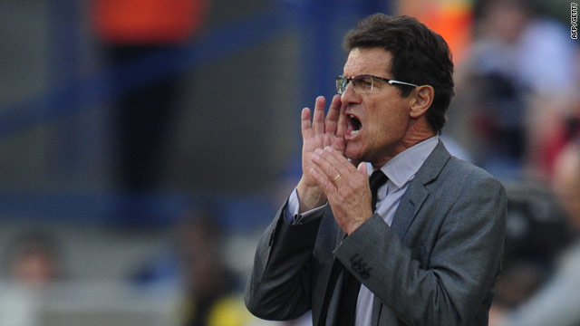 Capello barks out instructions to his team during their 4-1 defeat to Germany in the last 16.