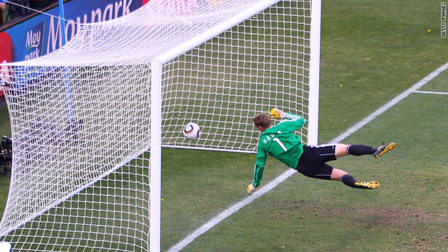 Manuel Neuer of Germany watches the ball bounce over the line from a shot from England's Frank Lampard.