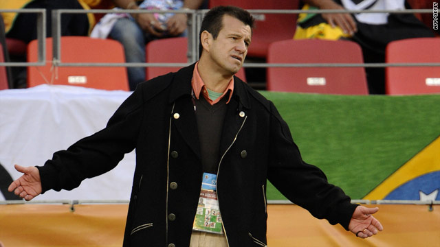 Dunga looks downcast as his side slipped to a 2-1 quarterfinal defeat to the Dutch