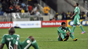 Nigeria's soccer team lost two of its group matches and tied a third at the 2010 World cup.