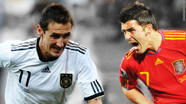 Germany forward Miroslav Klose and Spain striker David Villa are in contention to be the World Cup's top goal scorer.