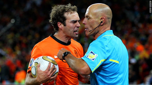 Netherlands defender Joris Mathijsen makes his feelings clear to referee Howard Webb during the World Cup final.