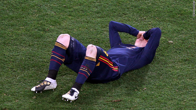 Torres lies on the pitch injured during the closing stages of the World Cup final in Johannesburg.