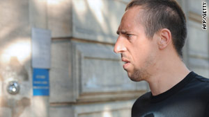 French footballer Franck Ribery, pictured July 20 in Paris arriving at a police station.