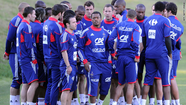 Captain Patrice Evra (center) was involved in a training ground row prior to France's World Cup walk-out.