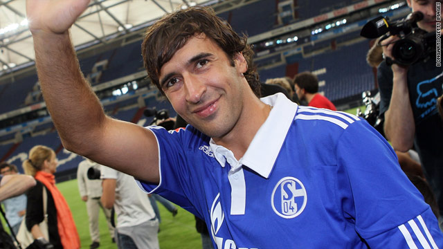 Raul greets fans at the Veltins Arena after completing his move to Schalke on Wednesday.
