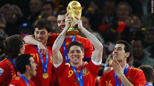 Liverpool striker Fernando Torres (C) lifted the World Cup with Spain in South Africa.